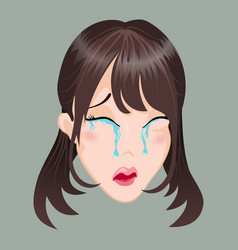 Emoticon asia girl cry vector