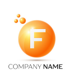 F letter splash orange dots and circle bubble vector