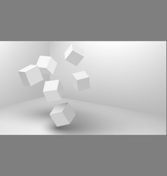 falling 3d cubes abstract geometric background vector image