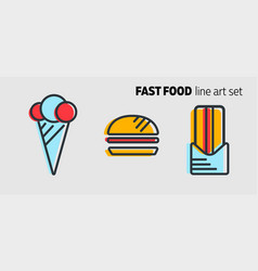 fast food design concept flat style banner with vector image