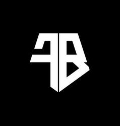 Fb logo monogram with pentagon shape style design vector