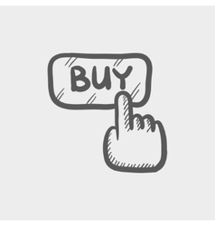 Finger pointing to buy sign sketch icon vector