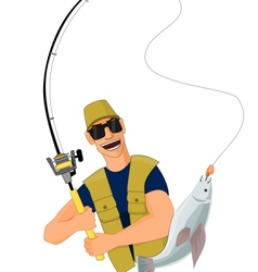 Fisherman caught a fish vector