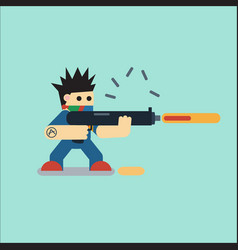 Flat cartoon character with weapon vector