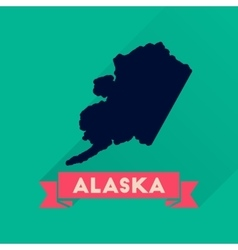 Flat icon with long shadow Alaska map vector image