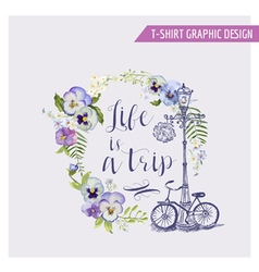 Floral shabchic graphic design - for t-shirt vector