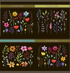 floral watercolor collection vector image