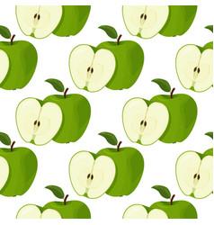 Fresh green apples seamless patter summer bright vector