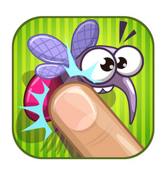 Funny comic app icon with squashed mosquito vector