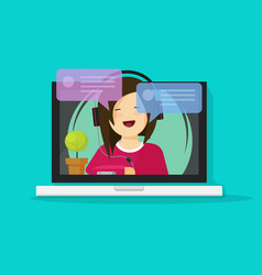 girl in headset chatting or talking on internet on vector image