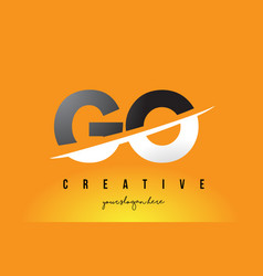 go g o letter modern logo design with yellow vector image