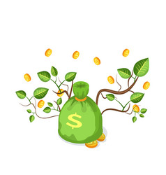 Green money bag with coins and branches vector