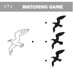 Gull shadow matching educational kid game for vector