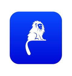 Hairy monkey icon digital blue vector