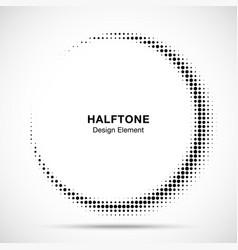 halftone circle frame abstract dots logo emblem vector image