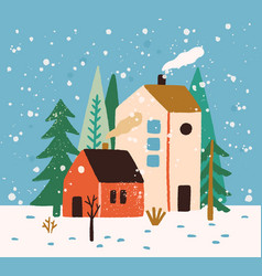 Hand drawn winter landscape with houses trees and vector