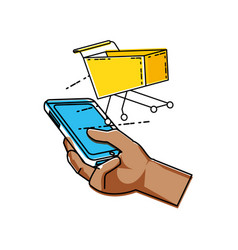 Hand using smartphone with shopping cart vector