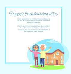 Happy grandparents day couple near house vector