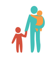 happy single parent and baby icon multicolored in vector image