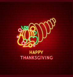 happy thanksgiving harvest neon label vector image