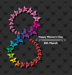 happy womens day greeting card postcard on march 8 vector image