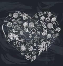 Heart floral design with chalk astilbe craspedia vector