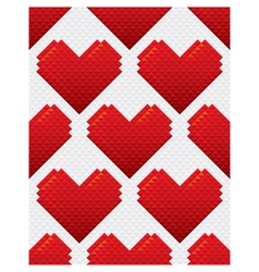 Heart shapes seamless pattern mosaic style vector