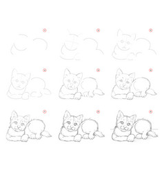 How to draw step-wise imaginary sketch cute vector