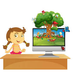 Insect cartoon fairy on computer background vector