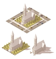 Isometric low poly church icon vector