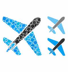 Jet airplane mosaic icon inequal pieces vector