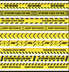 Keep distance on floor stripes set vector
