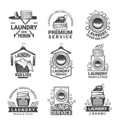 Labels or logos for laundry service vector