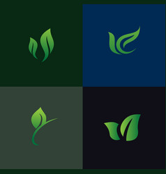leaf nature logo set collection environmental and vector image