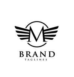 Letters m with wings monogram logo creativ vector
