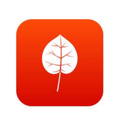 Linden leaf icon digital red vector