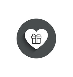 Love gift box simple icon present sign vector