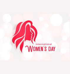 lovely womens day poster with girl face vector image