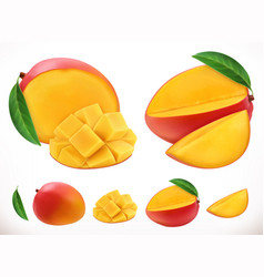 mango fresh fruit 3d realistic icon vector image
