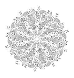 Mehndi mandala with flowers and leaves isolated vector