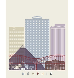 Memphis skyline poster vector image vector image