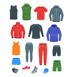men casual clothes for fitness training flat icons vector image