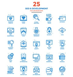 Modern Flat Line Color Icons SEO vector
