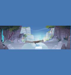 mountain landscape with log bridge above river vector image