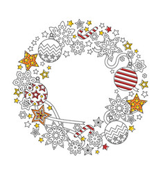 new year wreath consisting of christmas festive vector image