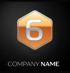 Number six logo symbol in the golden hexagonal vector