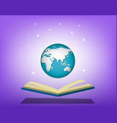 Open book open world vector