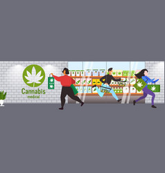 People carrying cbd products modern cannabis shop vector