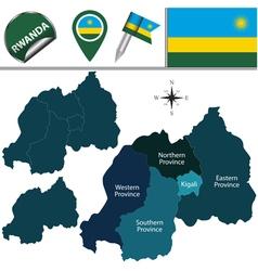 Rwanda map with named divisions vector image