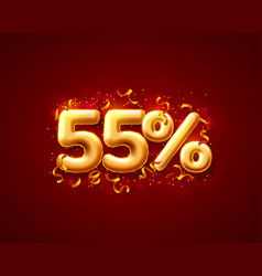 sale 55 off ballon number on red background vector image